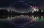 Обои Река ночью на фоне млечного пути в звездном небе, фотограф Кристиян Младенов