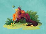 Обои Фантастическое животное с длинным хвостом и и рожками смотрит на бабочку, by fiachmara