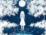 Обои Девочка с цветами в руках стоит в воде на фоне полной луны