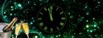 Обои Циферблат часов на фоне звездного неба, натюрморт с шампанским, новогодняя композиция, by Dorothe