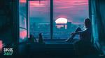 Обои Девушка с кошкой сидит у окна, любуясь закатом солнца, by Alena Aenami