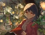Обои Девушка в очках сидит в оранжерее, by omutatsu