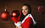 Обои Девушка Katya Clover в новогоднем наряде держит шар, by Artofdan Photography