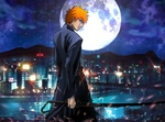 Обои Kurosaki Ichigo / Куросаки Ичиго на фоне ночного города аниме Bleach / Блич