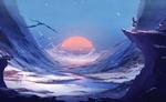 Обои Мальчик стоит на краю обрыва у моря с закатом солнца, by Arsh