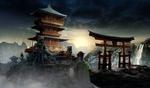 Обои Ворота тории и японская пагода, охраняемая свирепыми каменными львами, на фоне гор и водопада, by Johnpaul Koo