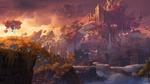 Обои Замок парящий в облаках на фоне фантастического пейзажа, by Daryl Mandryk