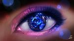 Обои Глаз смотрящий на что-то голубое, by ryky