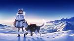 Обои Девушка с собакой хаски стоит на снегу
