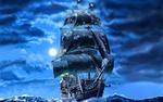 Обои Пиратский корабль ночью в море