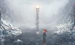 Обои Человек с красным зонтом в воде под снегопадом смотрит на маяк в дали, by TomTC