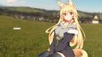 Обои Девушка-лисичка сидит в траве, by Captain-Tree
