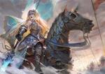 Обои Jeanne dArc / Жанна дАрк / Jeanne Alter / Альтер-Жанна на боевом коне из игры Fate / Grand Order, by QMO