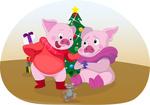 Обои Два поросенка перед новогодней елкой, by Dasha Bochkova