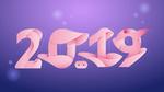 Обои 2019 новогодние цифры в стиле свиньи