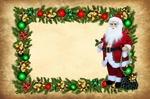 Обои Новогодняя открытка с Санта Клаусом в обрамлении хвои и елочных украшений