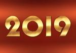 Обои Золотистые цифры 2019 на красном фоне, by Dorothe