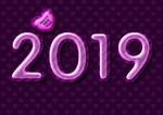Обои Цифры 2019 с надписью Love / Любовь, парящее над ними сердечко с надписью Happy New Year / C Новым годом, темный фон, by Dorothe