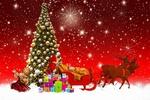 Обои Запряженные оленями сани Санта Клауса, украшенная елка, подарки, кукла на фоне звездного неба, by Gerhard Gellinger