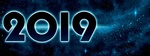 Обои Цифры 2019 на фоне звездного неба, by Dorothe