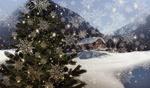 Обои Украшенная елка, домик, горы, снег, стилизованные снежинки, новогодний этюд, by Gerd Altmann
