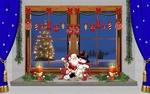 Обои Сидящий на подоконнике Дед Мороз со снеговиками, за стеклом украшенного окна сияющая новогодняя елка, by Gerhard Janson