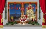 Обои Сидящий на подоконнике плюшевый мишка в наряде Санта Клауса, горящие свечи, украшения, зимний пейзаж за стеклом, by Gerhard Janson