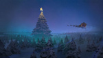 Обои Санта-Клаус / Santa Claus летящий в санях, запряженной оленями, в ночном небе на фоне огромной новогодней ели с украшенной верхушкой, by Atomhawk Design