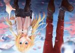 Обои Рэйчел Гарднер / Rachel Gardner и Айзек Фостер / Isaac Foster из аниме Ангел кровопролития / Satsuriku no Tenshi отражаются в луже