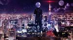 Обои Kaneki Ken / Канеки Кен на фоне ночного города аниме Tokyo Ghoul / Токийский Гуль
