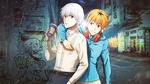 Обои Kaneki Ken / Канеки Кен и Hideyoshi Nagachica / Хидееши Нагачика на ночной улице арт аниме Tokyo Ghoul Токийский Гуль