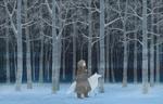 Обои Девушка и белый волк в зимнем лесу ночью