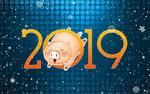 Обои Довольная свинья проскакивает сквозь 0 в цифрах 2019