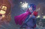 Обои Rem / Рем идет по украшенной снежной улице с подарком в руках и разговаривает с феей арт аниме Re:Zero kara Hajimeru Isekai Seikatsu / Re: Жизнь в альтернативном мире с нуля