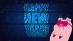 Обои Пухля / Waddles из мультсериала Gravity Falls / Гравити Фолз в розовых очках и надпись HAPPY NEW YEAR! / СЧАСТЛИВОГО НОВОГО ГОДА!