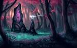 Обои Белый фантастический зверек у магического камня в лесу, art by Minea Juntura