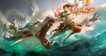 Обои Юноша копьем проткнул белого дракона, by Huang Guangjian