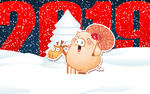 Обои Символ 2019 года-свинка с зонтиком стоит рядом с оленем