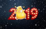 Обои На синем фоне со снежинками цифры нового 2019 года с символом - хрюшей