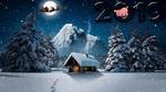 Обои По ночному небу мчится Дед Мороз с подарками в упряжке с оленями над домиком и зимними деревьями, (2019), by christiancaron54