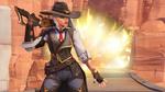 Обои Героиня Overwatch Ashe / Эш, держа на плече ружье, оглядывается на фоне взрыва, by Renaud Galand
