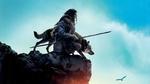 Обои Коди Смит-Макфи / Kodi Smit-McPhee в роли Кеда и волк Альфа, стоя на обрыве, наблюдают за орлом, постер к фильму Альфа / Alpha