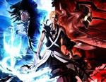 Обои Ichigo Kurosaki / Ичиго Куросаки с двумя мечами (истинная форма). Два меча символ двух составляющих его силы. Силы квинси и силы пустого. Арт по аниме Bleach / Блич