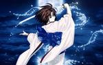 Обои Шики Реги / Ryougi Shiki из аниме и манги Граница Пустоты: Сад Грешников / Kara no Kyoukai: The Garden of Sinners, рассекает водную гладь катаной
