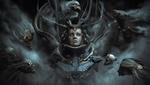 Обои Девушка в скафандре среди кибермонстров с черепами, арт к игре Doom (The Core) by Santiago Betancur