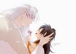 Обои Демон Sesshomaru / Сесшомару и Rin на белом фоне, из аниме InuYasha / Инуяша