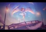 Обои Девушка - ангел стоит на ограждении