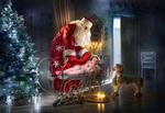 Обои Christmas night / Рождественской ночью Дед Мороз накрывает спящую девочку в комнате, у новогодней елки, фотограф Dmitry Usanin