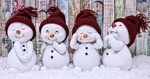 Обои Четыре милых снеговика в шапках, by Alexas_Fotos