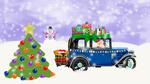 Обои Дед Мороз едет на старинном авто с подарками и котятами в коробке, на пути стоит нарядная елка и Снеговик